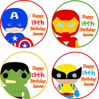 Super Hero Party Favor Bag Stickers, Birthday Party, Personalized Stickers, Favor Tags, Happy Birthday Bag Tags, Birthday Labels, diy, Boy