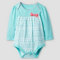 Baby Girls' Long-Sleeve Yoke with Bow Bodysuit Aqua - Cat & Jack Baby™