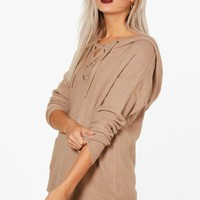 Natasha Lace Up Soft Knit Jumper | Boohoo