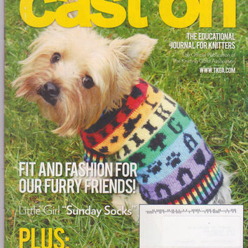 Cast On magazine Feb-April 2014 Dog Lover's Issue featuring knit dog coats, fine knit lace doilies, jackets, sweaters