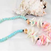 Pastel Shell Necklace, Pink Blue White, Beach Accessory, 1980s, Vintage Necklace