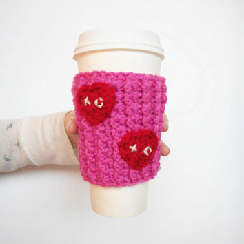 Pink Valentine Coffee Cozy with Red Hearts, ready to ship.
