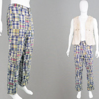 Vintage 70s Indian Madras Cotton Mens Hippie Pants Patchwork Plaid Pants Checked Trousers 1970s Pants Straight Leg Jeans Loose Relaxed Fit