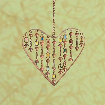 "Heart with Dangles Ornament and Wind Chime, 9"" - New item!"