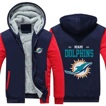 NFL American football Men's winter casual jacket Warm thicken hoodies Miami Dolphins