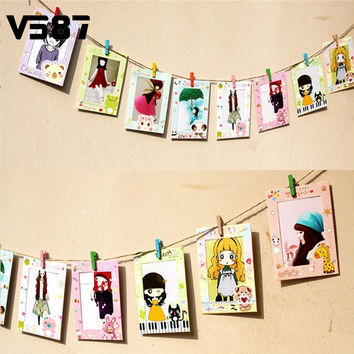 Art Wall Album Picture Photo Frame Hanging Paper Post Card Home Decor Enclosed Wood Clip Rope Decoration Home 9Pcs/Set