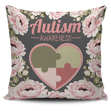 Floral Autism Awareness Pillow Cover