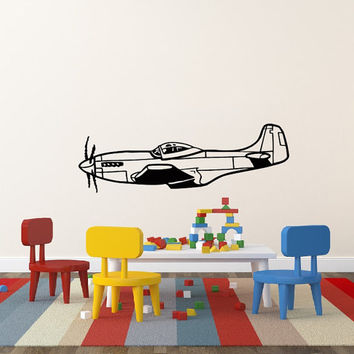 Vinyl Decal Airplane Plane Monoplane Nursery Children Babes Kids Home Wall Decor Stylish Sticker Mural Unique Design for Any Room V897