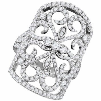 14kt White Gold Women's Round Diamond Vintage-style Knuckle Band Ring 1-1-2 Cttw - FREE Shipping (US/CAN)