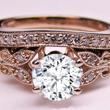 Engagement Ring - Diamond Butterfly Vintage Engagement Ring & Matching Wedding Band 0.37 tcw. In Rose Gold - ES334BRBSPG