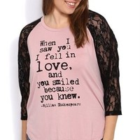 Plus Size Raglan Tee with Lace Sleeves and Shakespeare Quote