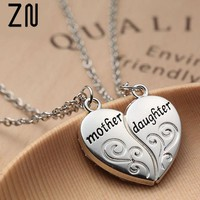 """ZN Popular Mother and Daughter Heart necklace women Love """"Mom"""" Necklace Mother's Day Gifts For Mother"""
