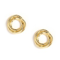 Sale-gold Shimmery Triple Ring Earrings