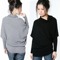 New lady strip Irregular loose batwing sleeve knit top knitwear Batwing sweater  7_S = 1905683524