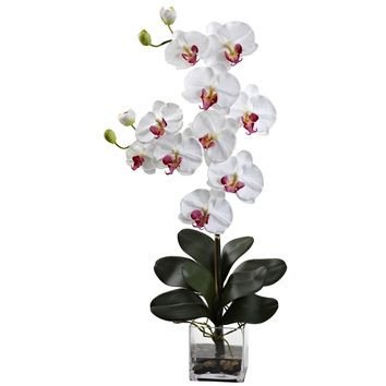 Artificial Flowers -Double Giant White Phalaenopsis With Vase Silk Flowers