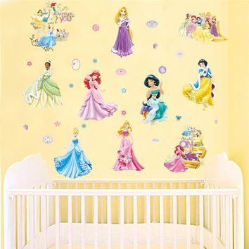 Fairy Tale Girl Wall Stickers Princess Poster DIY Removable Children Wall Decals Decor Kids Room Nursery Mural Decorative Art