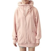 Allegra K Woman Pink Ribbed Cuffs Hem Raglan Sleeve Hooded Causal Winter Coat S: Clothing
