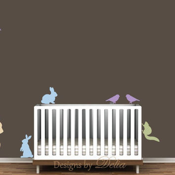 Wall decal for baby room, forest animals include deer, birds, squirrels, and bunnies