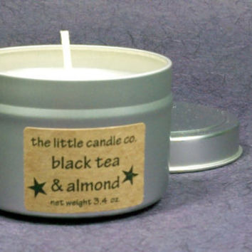 Black Tea & Almond Soy Candle Tin - Hand Poured and Highly Scented Container Candles