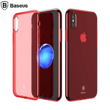 BASEUS for Apple iPhoneX TPU Cases Simple Series Clear TPU Mobile Phone Shell with Dust Plug for iPhone X/10 5.8 inch - Red