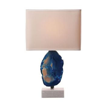 Minoa 1 Light Table Lamp In Blue Agate And Marble Blue