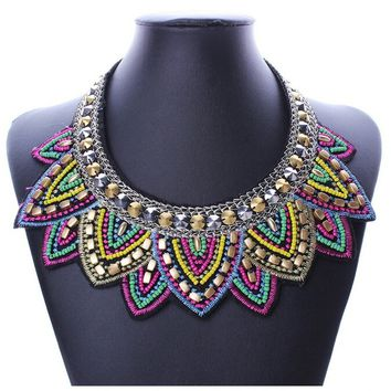 New Pendant Chain Jewelry Women Bib Crystal Beaded Collar Necklace Choker