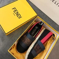 FENDI Black canvas espadrilles