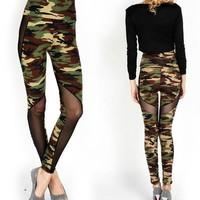 2017 Women Sexy Mesh Camouflage Leggings High Waist Patchwork Stretchy Slim Army Camo Leggings Female Army Green Fitness Wear