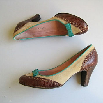 Marc Jacobs shoes leather shoes 90s high heel shoes with bow designer shoes vintage designer made in Italy