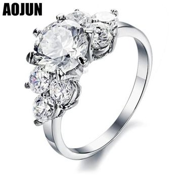 AOJUN Queen Womens Titanium Steel Flower Rings Female AAA Zircon Bridal ring Sets Vintage Wedding Bands Jewelry Ring For Women