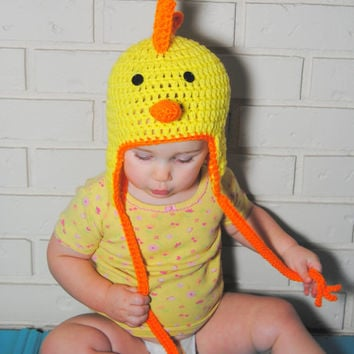 Chicken Crochet Hat, Farm Animal Hat, Chick Hat, Spring Baby Photo Prop, Newborn, Baby, Toddler, Kids, Boys, Girls, Teen, Adult  Chicken Hat