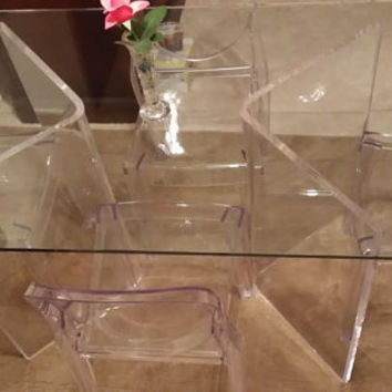 "Clear Acrylic Lucite 3/4"" Boomerang or ""V"" shaped Dining Table Bases (2)"