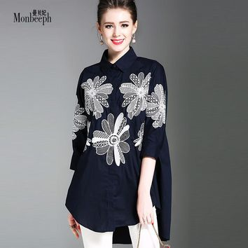 2018 new MONBEEPH brand Women Elegant Embroidery Blouses Cotton Linen Ladies Office Wear Loose Shirts Casual Fashion shirts