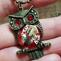Red Steampunk Owl, Steampunk Owl Necklace, Watch Part Owl