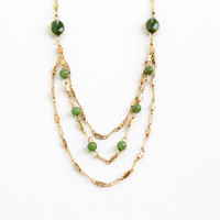 Vintage 14k Yellow Gold Overlay Nephrite Jade Necklace - 1940s Layered Paperlink Chain Green Gem Bead Dainty Jewelry Hallmarked Sweet