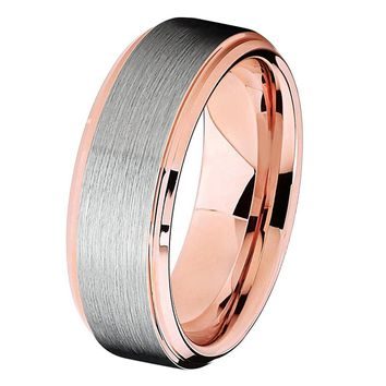 Tungsten Wedding Band Mens Wedding Ring Rose Gold Anniversary Band Grooms Ring 8mm Man Rose Gold Engagement Band Handmade His Hers Brushed 6mm 18k Rose Gold Ring Wedding Bands