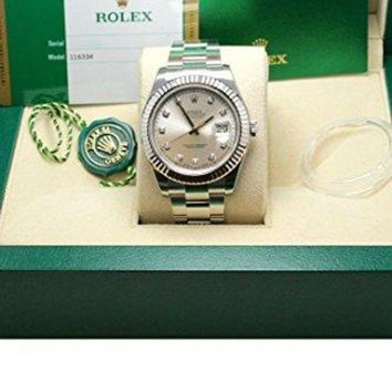 Rolex Datejust II 41mm Steel Silver Diamond Dial Men's Watch