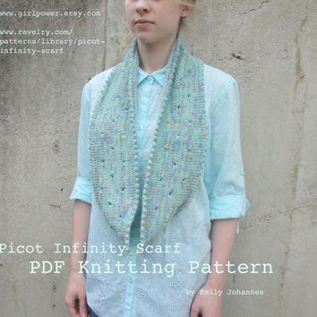 Picot Infinity Scarf PDF Knitting Pattern, Worsted Yarn, Picots & Eyelets, Easy Knit