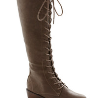 Tree Tapping Staple Boot in Taupe | Mod Retro Vintage Boots | ModCloth.com