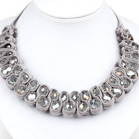 Bib Necklace Ribbon Necklace Silver/Grey