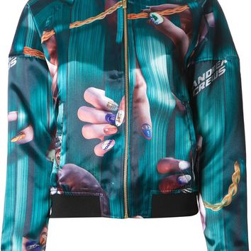 Andrea Crews finger and chain print bomber jacket