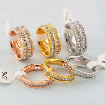 Gift Shiny Stylish New Arrival Jewelry Korean Diamonds Titanium Couple Ring [6411769540]