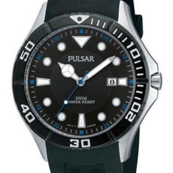 Pulsar Mens Watch - SS Case- Black Bezel and Dial - White & Electric Blue Accent