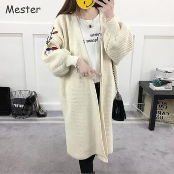 Spring Autumn Floral Embroidered Cardigan Ladies Casual Loose Long Knitted Cardigans Plus Size Lantern Sleeve Oversized Sweaters
