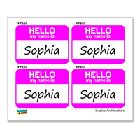Sophia Hello My Name Is - Sheet of 4 Stickers