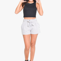 Grey Dove Ribbon Tie Shorts