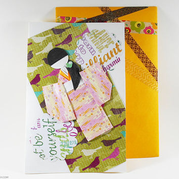 Japanese Greeting Card Chiyogami Origami Handmade Oriental Themed Card Decorative Great for All Occasions All Ages