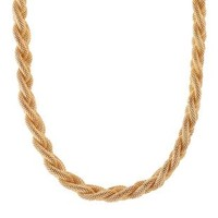 Braided Mesh Chain Necklace by Charlotte Russe - Gold