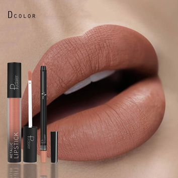 Pudaier brand 2pcs matte lipstick set liquid lipstick with lip liner nude lipstick kit lip gloss matte lips famous long lasting