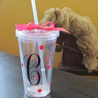 Cute Cup with Lid and Straw Customized to your very own initial.